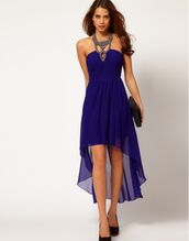 dress,perfect,high-low dresses,blue,prom dress,high low prom dresses,holter neck