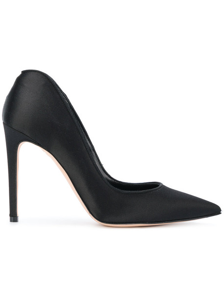 Alexander Mcqueen heart women pumps leather black silk satin shoes