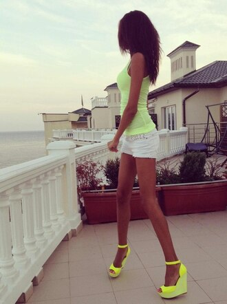 shoes neon yellow shoes yellow neon high heels shirt orange sandal heels high heel sandals neon yellow cute sexy spring spring 2016