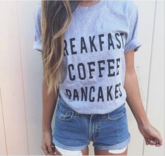 t-shirt tumblr tshirt. cute tumblr outfit tumblr girl blogger coffee blouse sweater sweatshirt t-shirt dress food starbucks coffee breakfast
