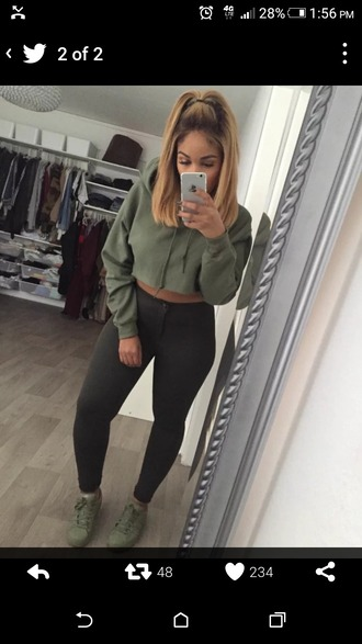 jacket dark green cropped hoodie sweater khaki army green style stylish cool top olive green jumper crop tops green sweater