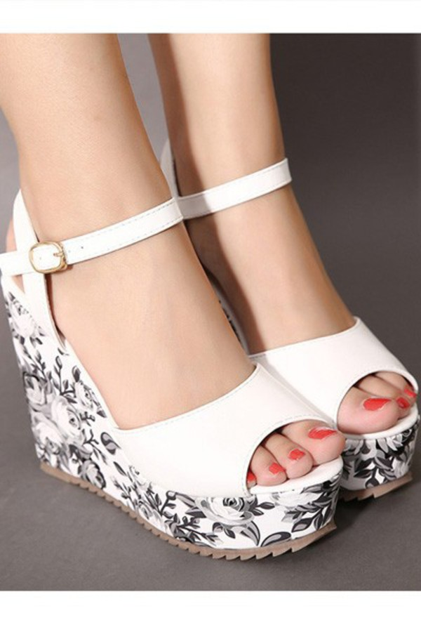 shoes peep toe ankle strap wedges white shoes