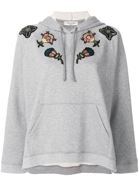 Valentino hoodie embroidered metallic women floral cotton silk grey sweater