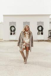 januaryhart,blogger,sweater,shoes,bag,coat,fall outfits,winter outfits,knee high boots,turtleneck sweater,leopard coat