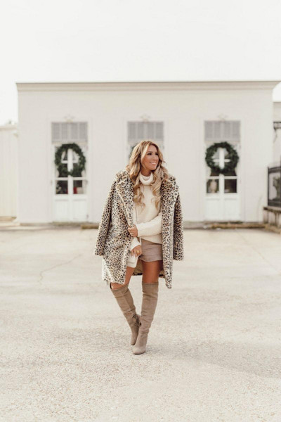 januaryhart blogger sweater shoes bag coat fall outfits winter outfits knee high boots turtleneck sweater leopard coat