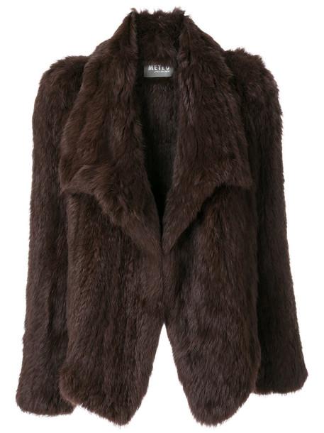Meteo by Yves Salomon coat short fur women brown