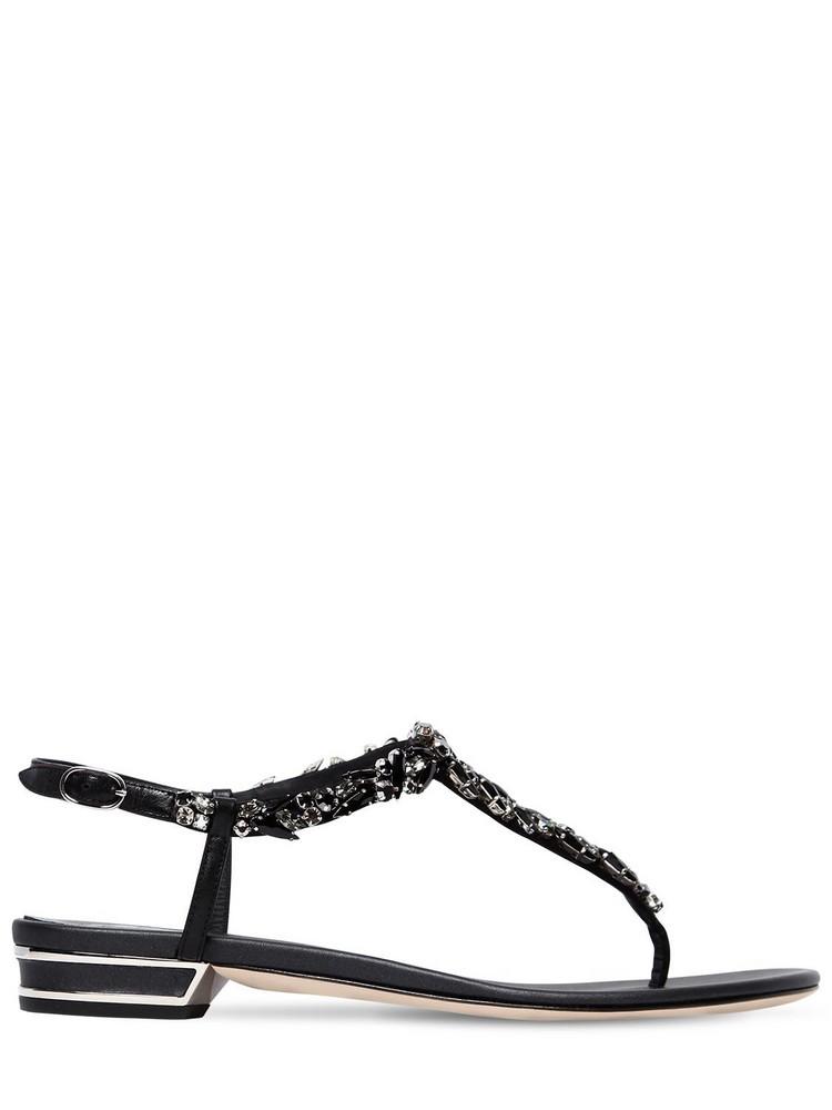 RENÉ CAOVILLA 20mm Swarovski Leather Sandals in black