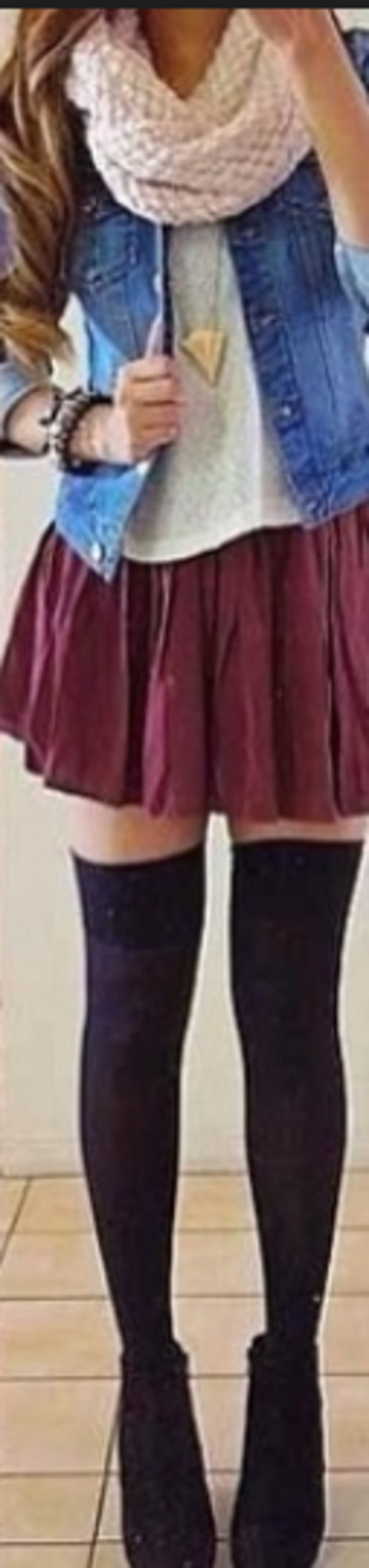 skirt jewels scarf shoes socks tights t-shirt jacket