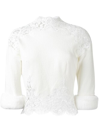 blouse fur women white cotton silk wool top