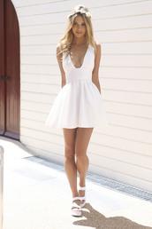 dress,white,plunge neckline,cream,plunge v neck,little white dress,white dress,v neck dress