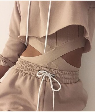 top nude nudes tracksuit jumpsuit pants blouse beige sweatpants sweater romper cut-out tan tumblr baddies joggers hoodie all nude everything cropped hoodie nude sweatpants bodysuit nude bodysuit jacket one piece swimsuit