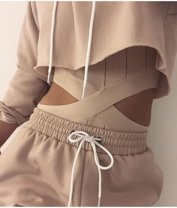 top nude nudes tracksuit jumpsuit pants blouse beige sweatpants sweater romper cut-out tan tumblr baddies joggers hoodie all nude everything cropped hoodie nude sweatpants cut-out bodysuit nude bodysuit jacket nude one piece swimsuit