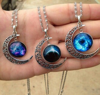 jewels moon necklace moon necklace grunge jewelry grunge space outer space galaxy print celtic tumblr tumblr fashion accessories