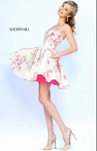 dress short cocktail dress floral dress sherri hill prom dress prom gown