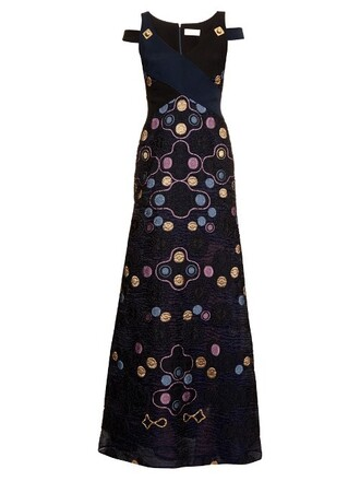 gown jacquard blue dress