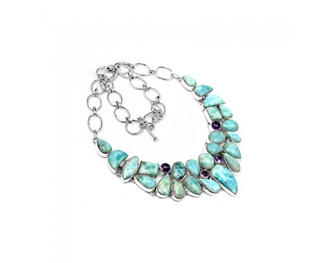 Stunning 925 sterling silver Larimar And Amethyst Gemstone Cluster Necklace