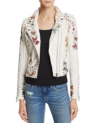 BLANKNYC Floral Embroidered Studded Faux Leather Moto Jacket | Bloomingdale's