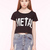 Letter Print Crop Top with Lattice Strap Back - Persunmall.com