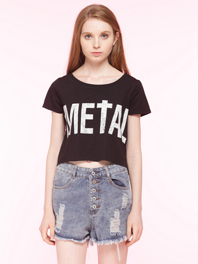 Letter print crop top with lattice strap back