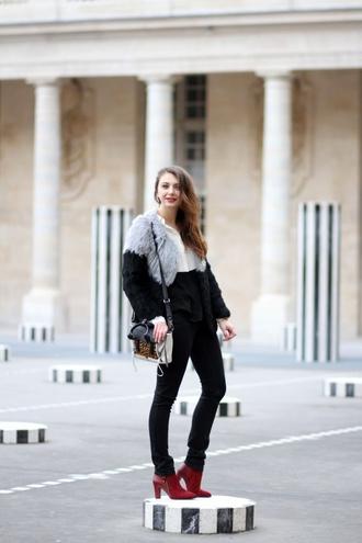the brunette blogger faux fur jacket red heels