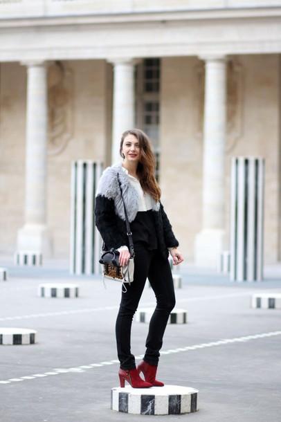 the brunette blogger faux fur jacket red heels shoes