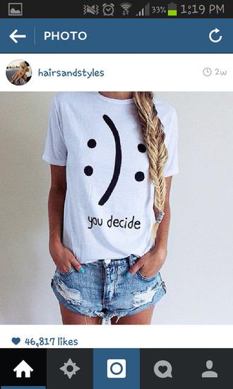 smiley white shirt white t-shirt