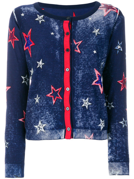 Twin-Set cardigan cardigan embroidered women cotton blue sweater