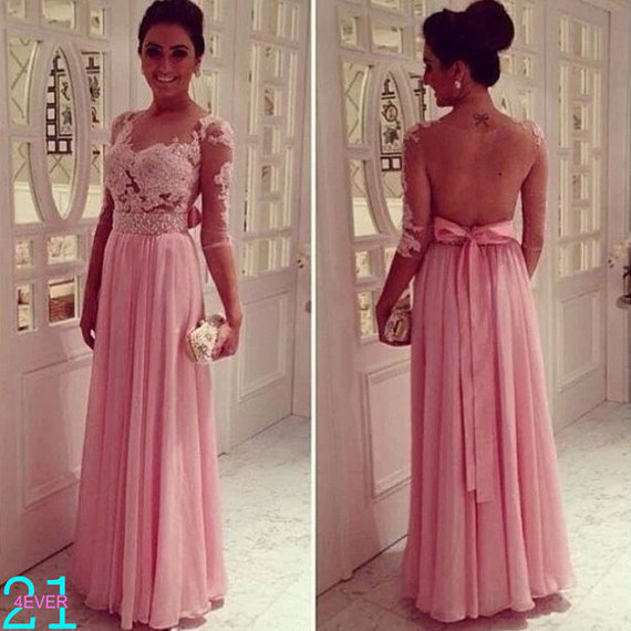 Long sleeve evening dress lace prom dress evening dress by 214ever