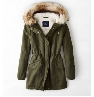 coat army green winter coat army green fur hood parka