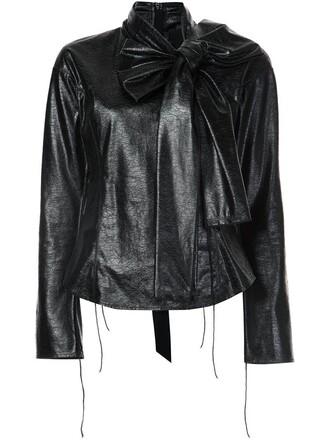blouse leather black top