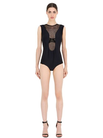 bodysuit lace neoprene black underwear
