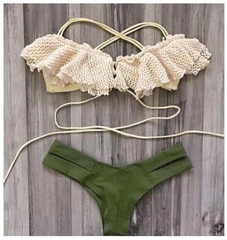 swimwear army green cream lace top two-piece summer sexy 2016 2017 push up bikini brazilian bikini brazilian bikini bottom frilly ruffle dark green khaki lace