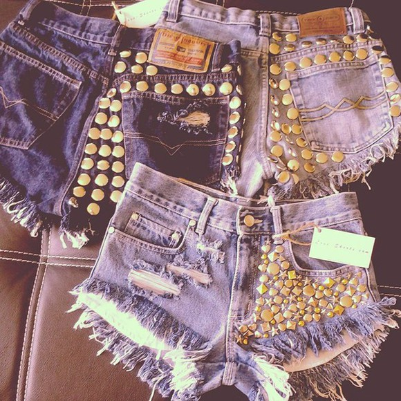 vintage high waisted shorts jeans studs levi denim love-shorts