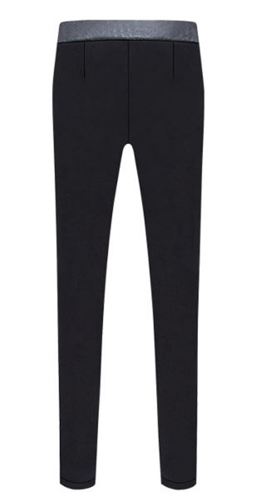 Basic Black Skinny Pants With PU Waist