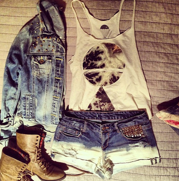 cutoff shorts shorts tank top dip dye studded jeans cute cut offs jacket
