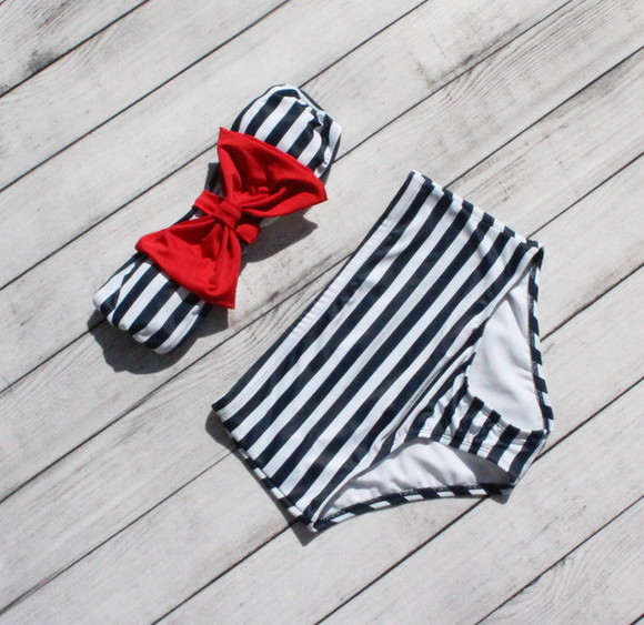swimwear bikini clothes high waisted bikini sailor highwaist stripes strip bikini paperhearts