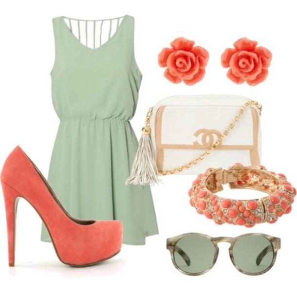 dress retro chic green dress pumps chic retro coach bracelets earrings roses