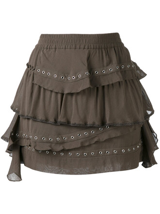 skirt mini skirt mini women cotton green