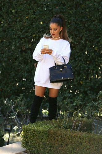dress ariana grande ariana grande white dress ariana grande dress white white dress sweater cute