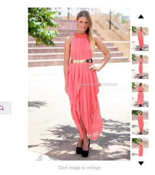 dress prom coral chiffon pink cute gold floral