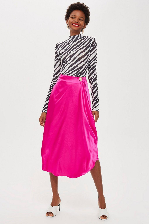 Satin Drape Midi Skirt - Skirts - Clothing
