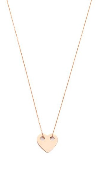 heart mini rose gold rose necklace gold jewels