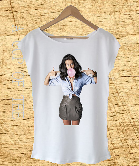 White t shirt katy perry inspired printed t shirt by acupoftee