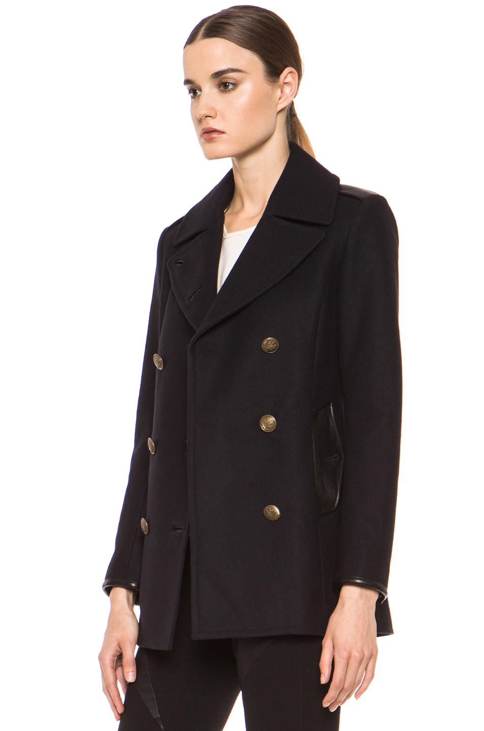 rag & bone|Battle Wool-Blend Peacoat in Dark Navy