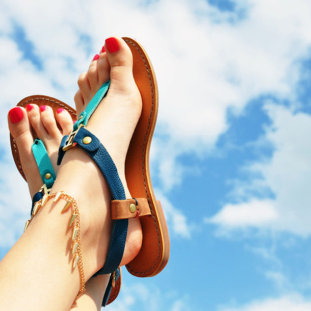shoes green blue brown sandals leather sandals