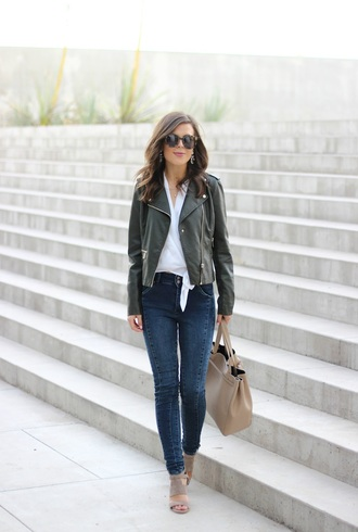 sophistifunk by brie bemis rearick | a personal style + beauty blog blogger jacket top jewels bag shoes leather jacket white top skinny jeans nude bag sandal heels nude sandals nude heels date outfit