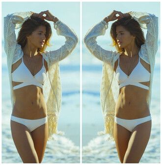 swimwear white criss cross bikini top summer cardigan