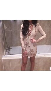 dress,mini dress,embellished dress,embellished,girly,gold,nude,rose,seuins,sequins,sequin dress,hot,perfect,love,fashion,style,girl,women