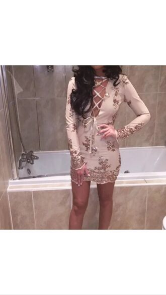 dress mini dress embellished dress embellished girly gold nude rose seuins sequins sequin dress hot perfect love fashion style girl women
