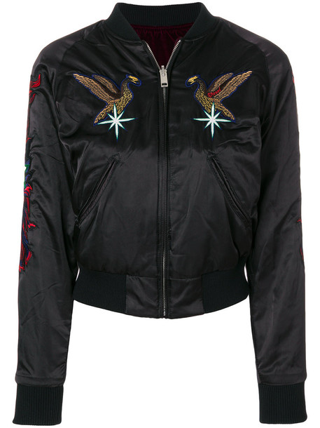 Diesel jacket bomber jacket embroidered women black